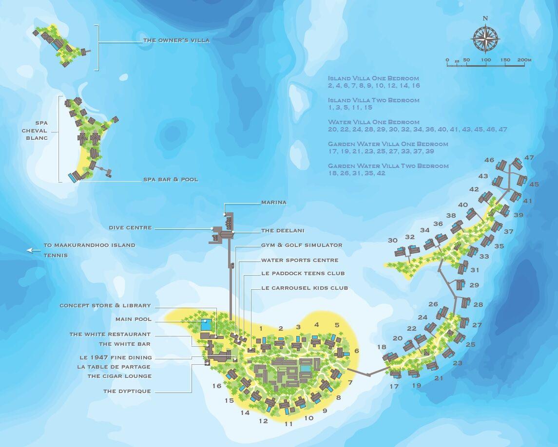 马尔代夫 白马庄园 Cheval Blanc Randheli 平面地图查看