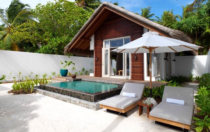 房型内部设施图片参考,如无边泳池与电视及音响, 日出/日落滩别墅  -Beach Sunrise/Sunset Villa maldievs(斯茹芬富士岛 Sirru Fen Fushi)
