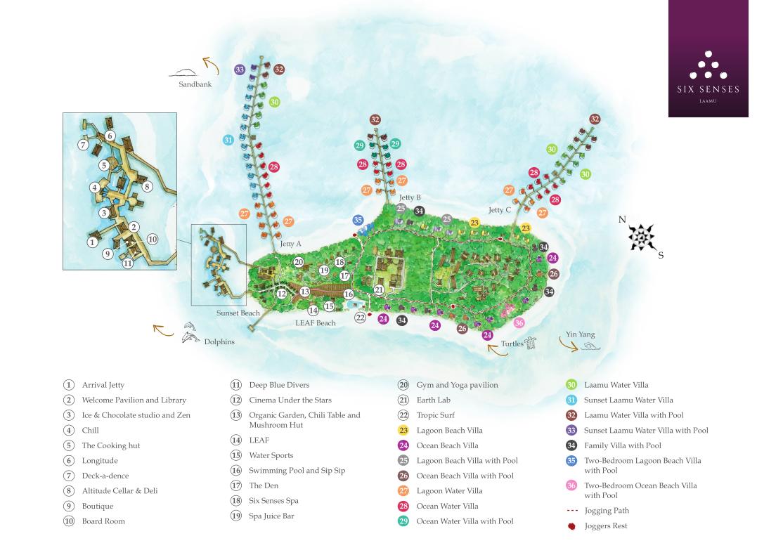 马尔代夫 第六感拉姆 Six Senses Laamu Maldives 平面地图查看