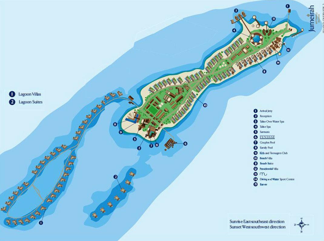 马尔代夫 JV岛卓美亚维塔维丽酒店 Jumeirah Vittaveli 平面地图查看