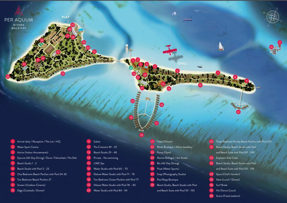 马尔代夫 尼亚玛 Niyama Maldives 平面地图查看