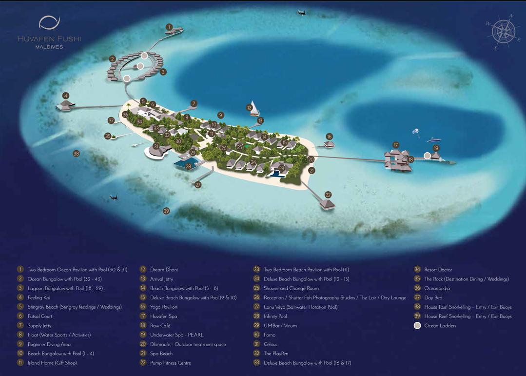马尔代夫 芙花芬岛|胡花芬 Huvafen Fushi 平面地图查看
