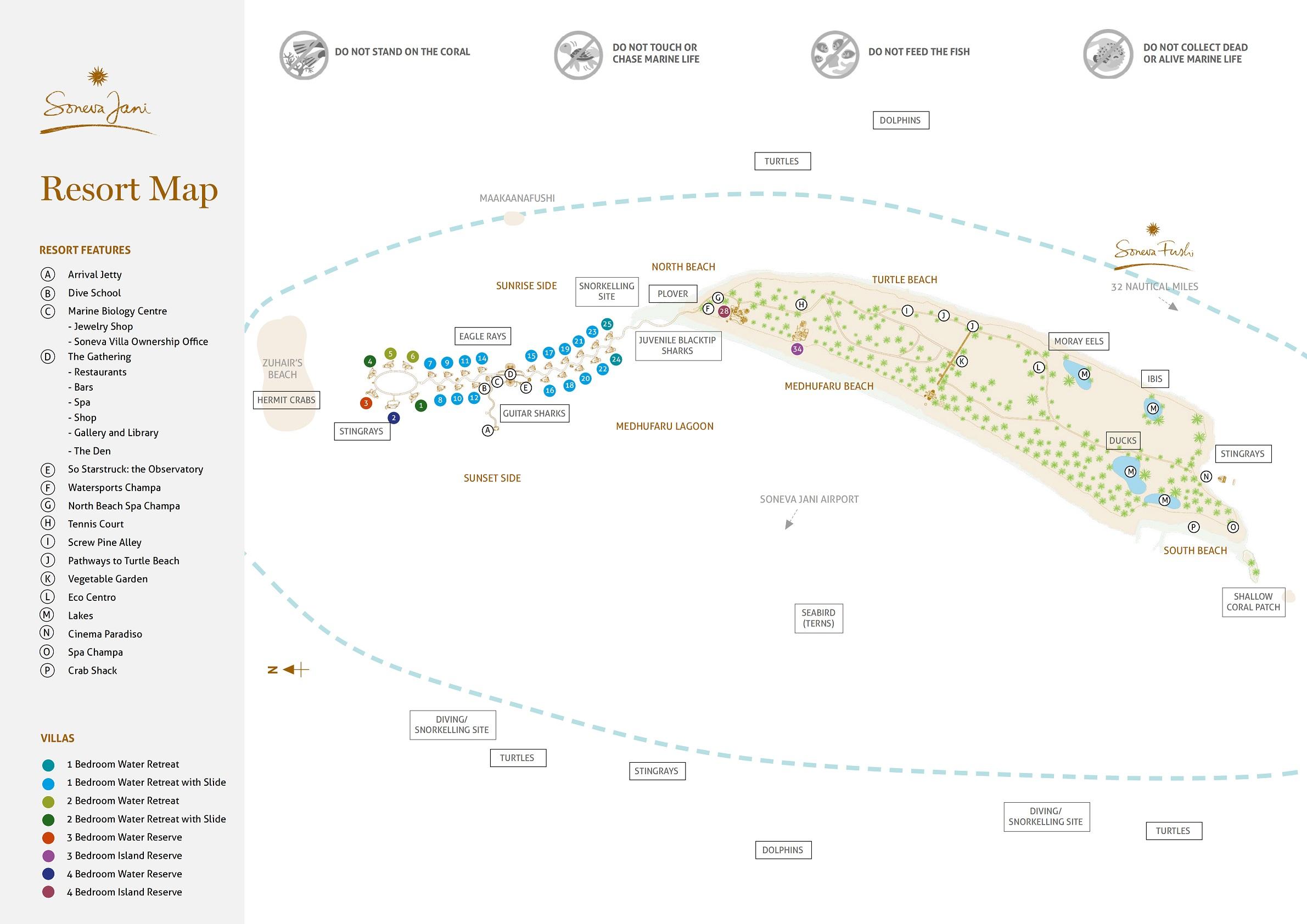 马尔代夫 索尼娃贾尼岛 Soneva Jani 平面地图查看
