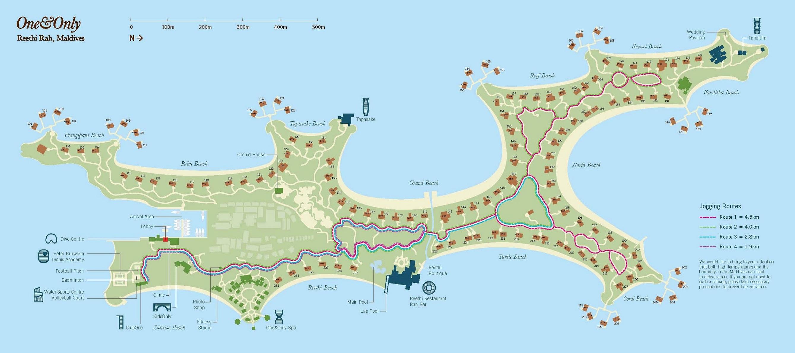 马尔代夫 唯一岛|唯逸岛|OO岛 One Only Reethi Rah 平面地图查看