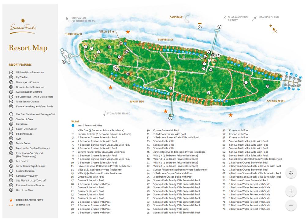马尔代夫 索尼娃芙西岛度假村 Soneva Fushi 平面地图查看