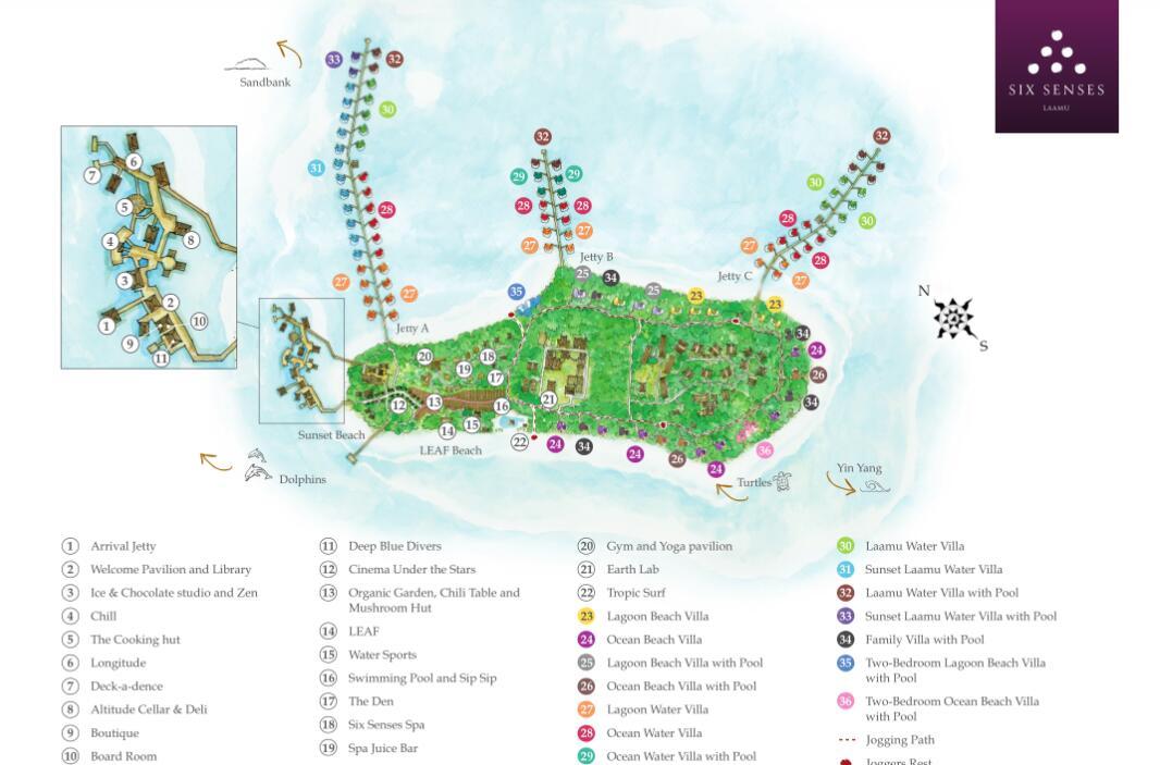 马尔代夫 六善拉姆 Six Senses Laamu Maldives 平面地图查看