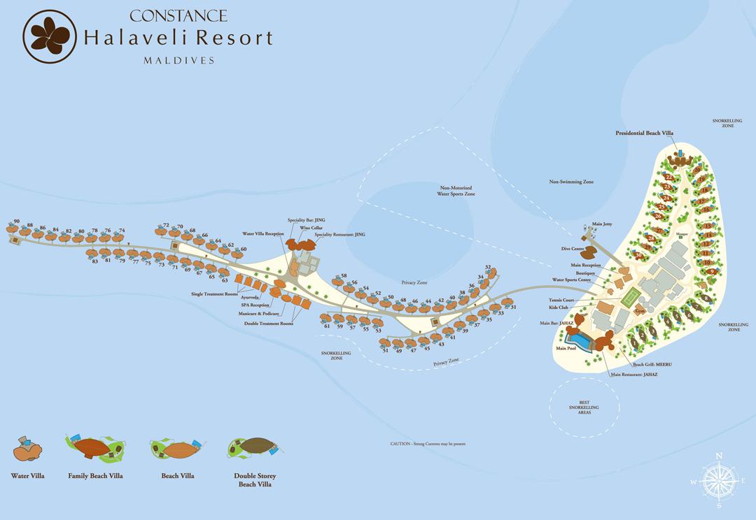 马尔代夫 哈拉薇利|康斯坦斯 Constance Halaveli 平面地图查看