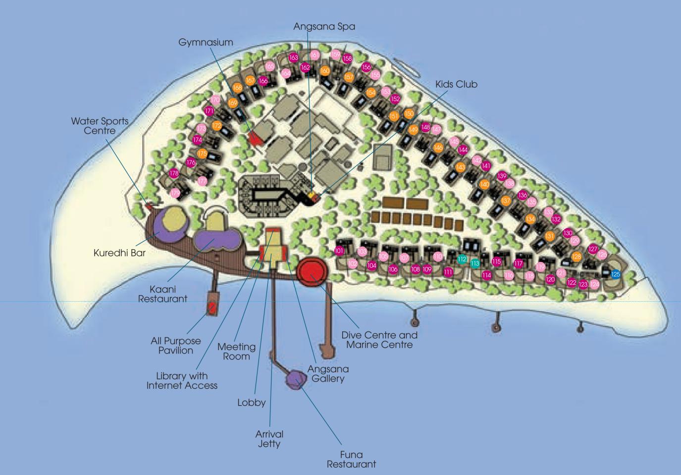 马尔代夫 薇拉瓦鲁岛|AV岛|海龟岛 Angsana velavaru 平面地图查看