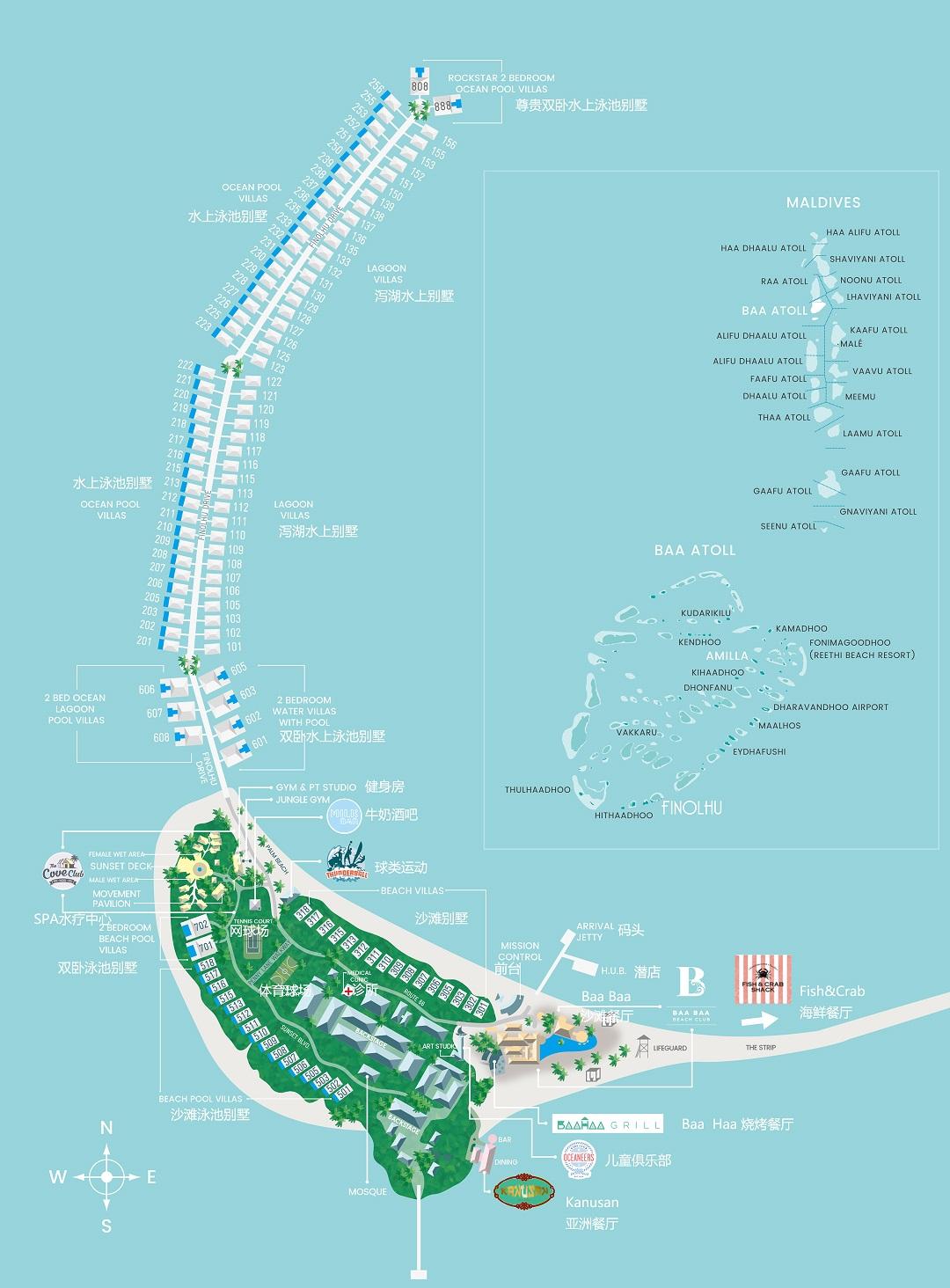 马尔代夫 菲诺芙岛 Finolhu Maldives 平面地图查看
