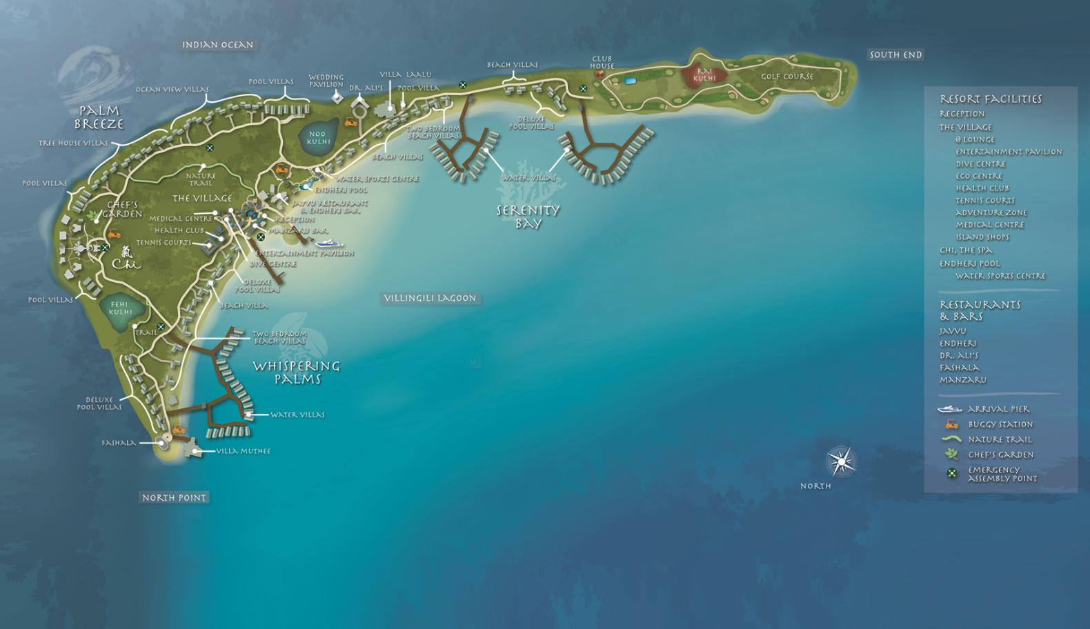 马尔代夫 香格里拉|薇宁姬莉岛 Shangri-La s Villingili Resort and Spa Maldives 平面地图查看