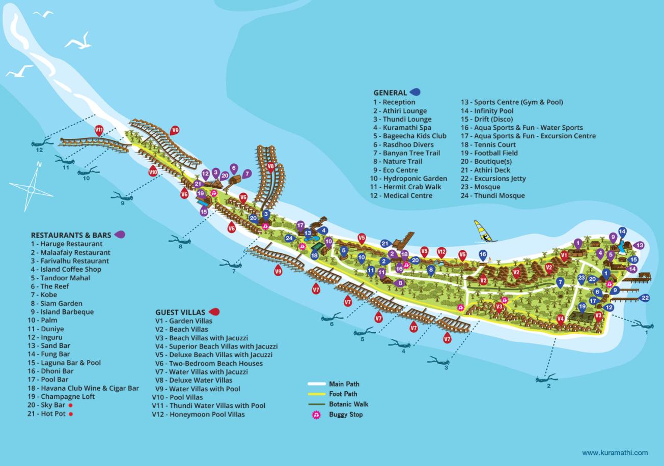 马尔代夫 (K岛)库拉玛提岛|库拉马提 Kuramathi 平面地图查看