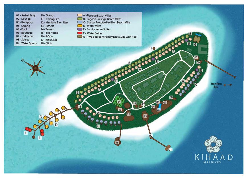 马尔代夫 吉哈岛 Kihaa 平面地图查看