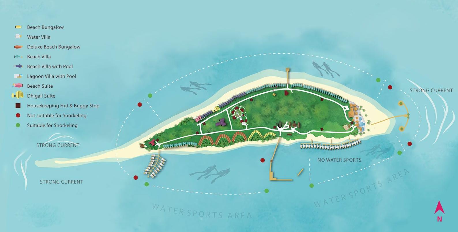 马尔代夫 迪加尼|戴加利岛 Dhigali Maldives 平面地图查看