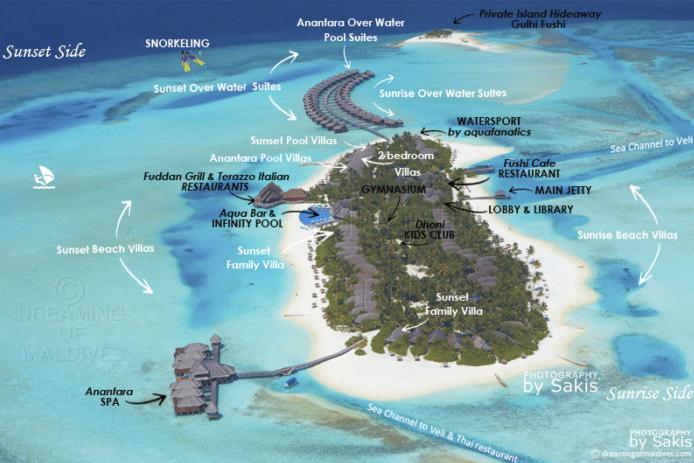 马尔代夫 笛古岛D岛(安娜塔拉) Anantara Dhigu 平面地图查看