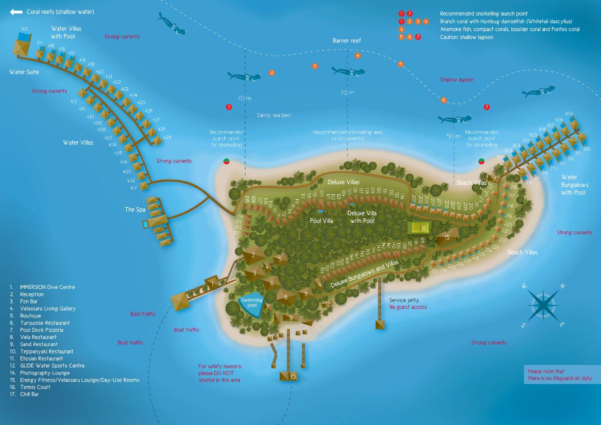 马尔代夫 薇拉莎露岛|蔚蓝沙鲁岛 Velassaru 平面地图查看