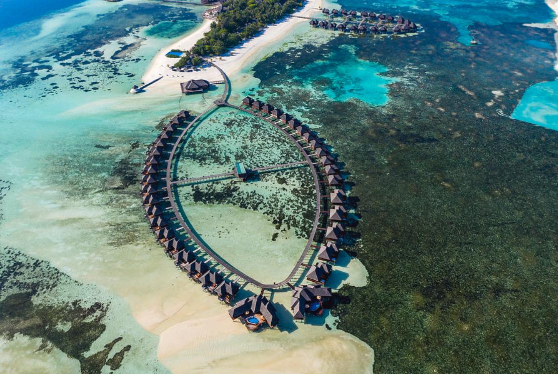 双鱼岛 欧芙菲莉岛 Olhuveli Beach & Spa Resort 鸟瞰地图birdview map清晰版 马尔代夫
