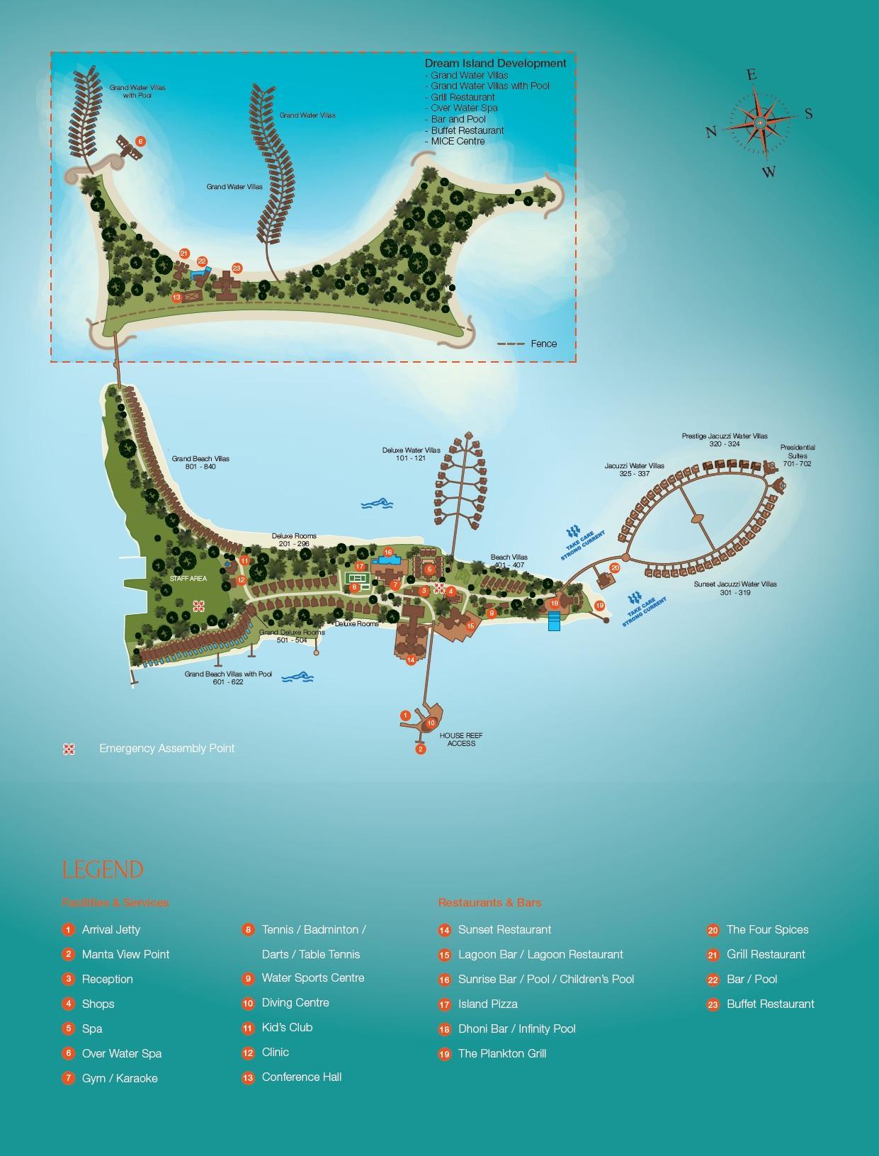 马尔代夫 双鱼岛 欧芙菲莉岛 Olhuveli Beach & Spa Resort 平面地图查看