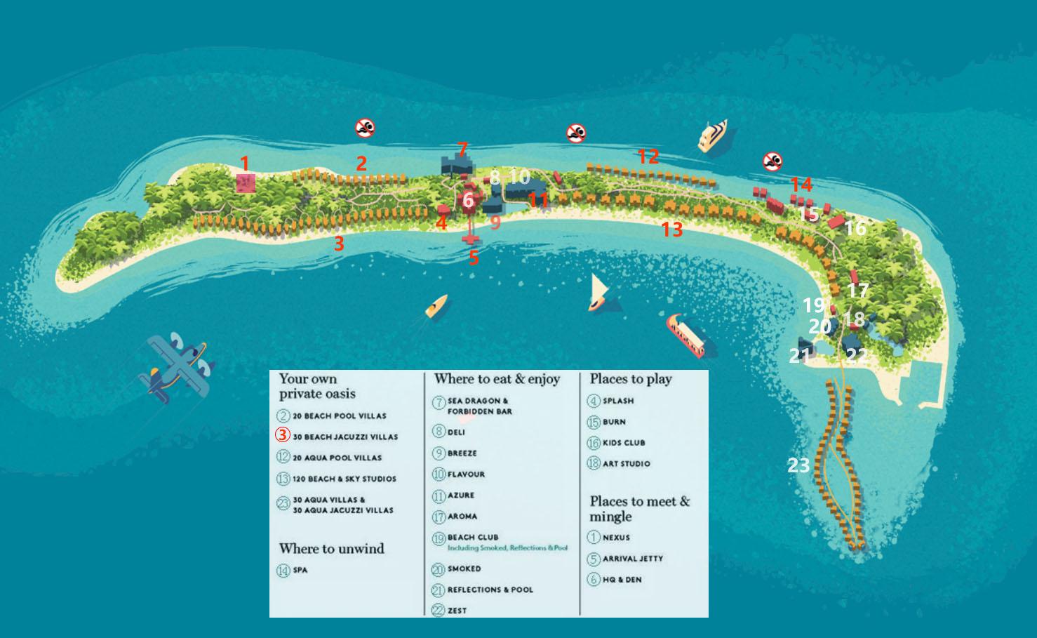 马尔代夫 康迪玛|坎迪玛 Kandima Maldives 平面地图查看