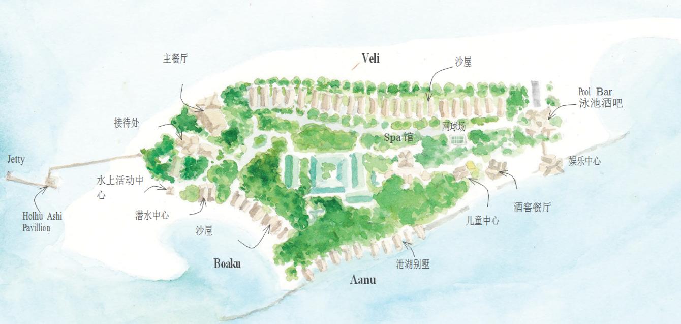 马尔代夫 迪古法鲁岛 Dhigufaru Island Resort 平面地图查看