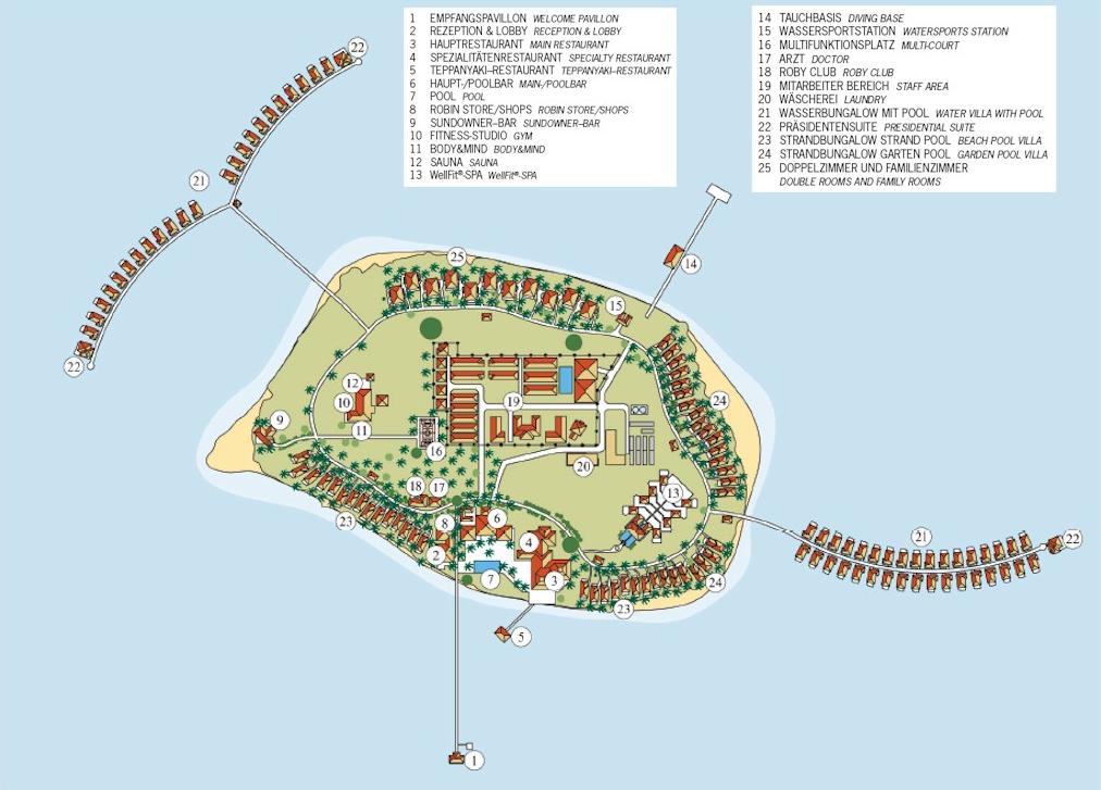 马尔代夫 新鲁滨逊诺鲁岛|努努岛 Robinson Club Noonu 平面地图查看