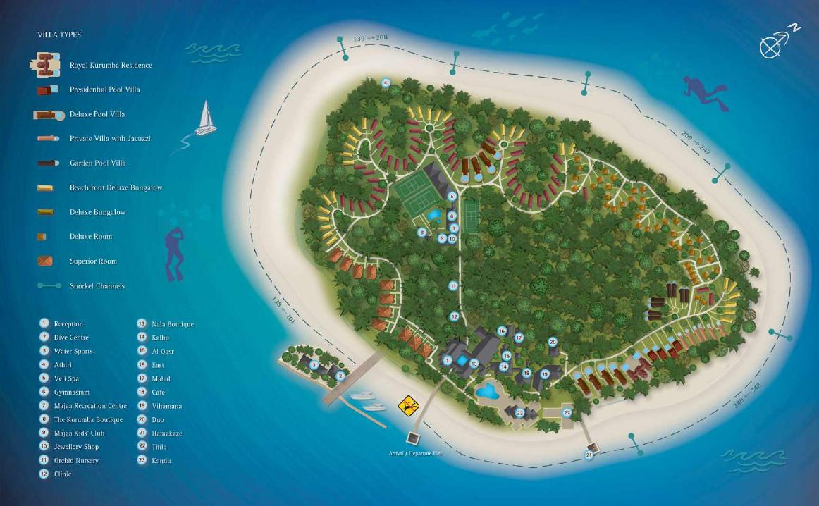 马尔代夫 椰子岛|可伦巴岛 Kurumba 平面地图查看