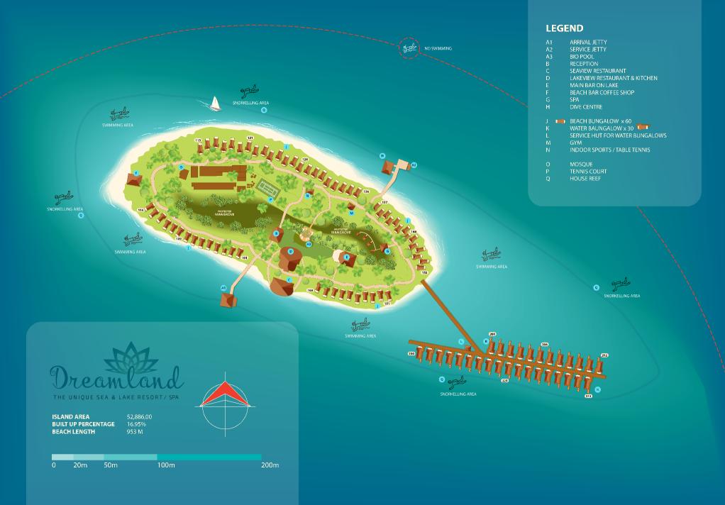 马尔代夫 梦境岛 Dreamland Island 平面地图查看