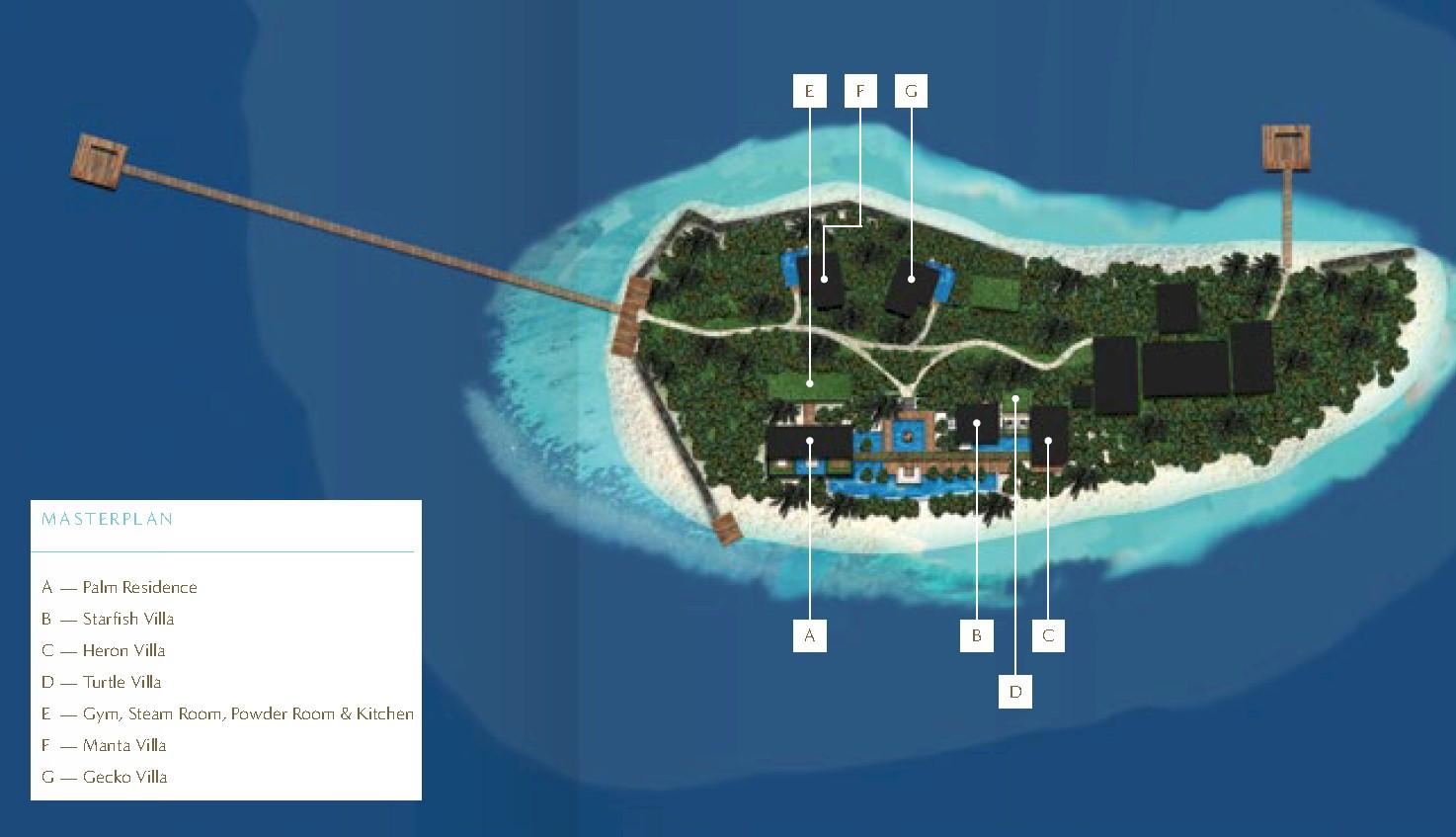 马尔代夫 库达希蒂岛 Coco Privé Kuda Hithi Island 平面地图查看