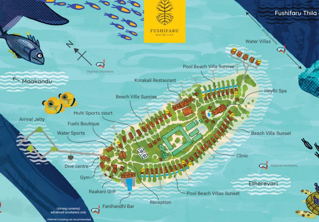 马尔代夫 富士法鲁岛 Fushifaru 平面地图查看