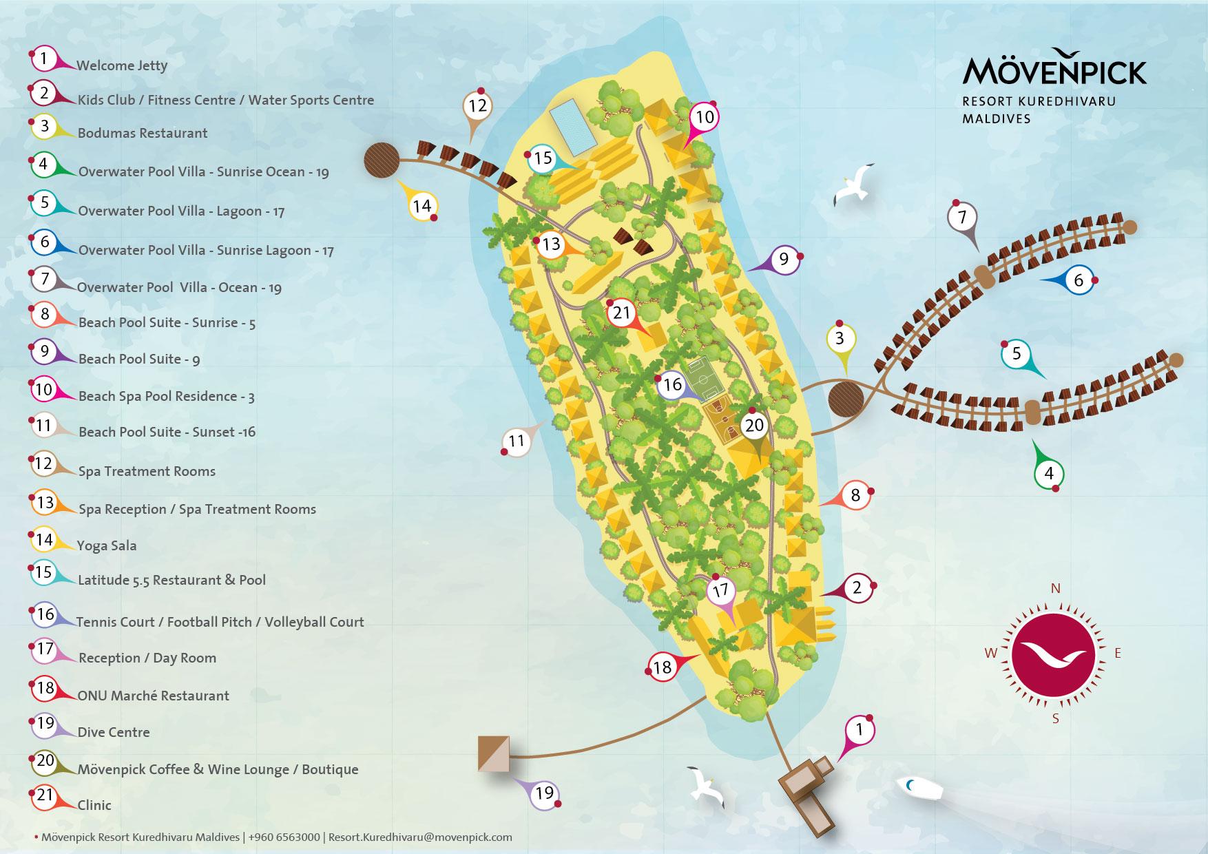 马尔代夫 莫凡彼岛 Movenpick Resort Kuredhivaru Maldives 平面地图查看