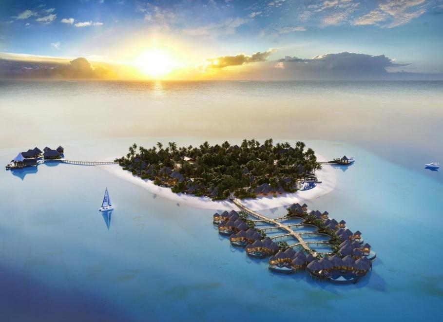 鹦鹉螺岛 The Nautilus Maldives 鸟瞰地图birdview map清晰版 马尔代夫