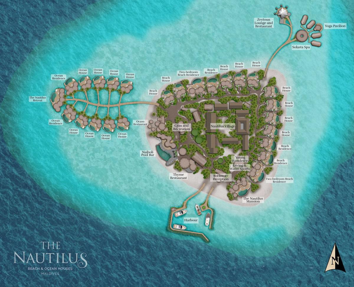 马尔代夫 鹦鹉螺岛 The Nautilus Maldives 平面地图查看