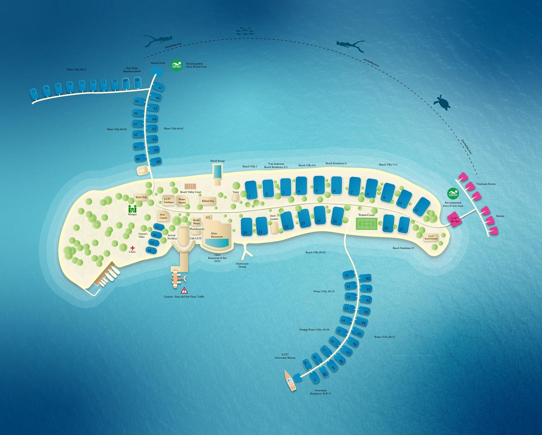 马尔代夫 北丽世岛 LUX* North Male Atoll Maldives 平面地图查看