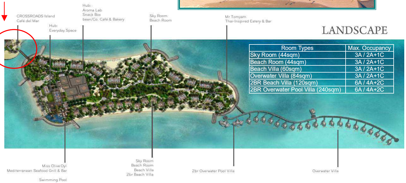 马尔代夫 十字路口希尔顿 SAii crossroads hilton saii resorts 平面地图查看