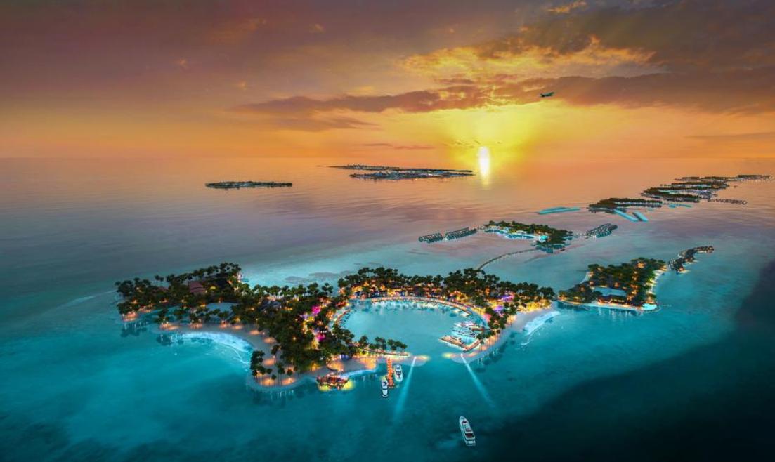 硬石酒店 HARD ROCK HOTEL MALDIVES 鸟瞰地图birdview map清晰版 马尔代夫
