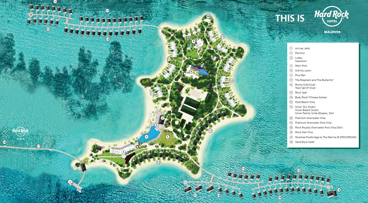 马尔代夫 硬石酒店 HARD ROCK HOTEL MALDIVES 平面地图查看