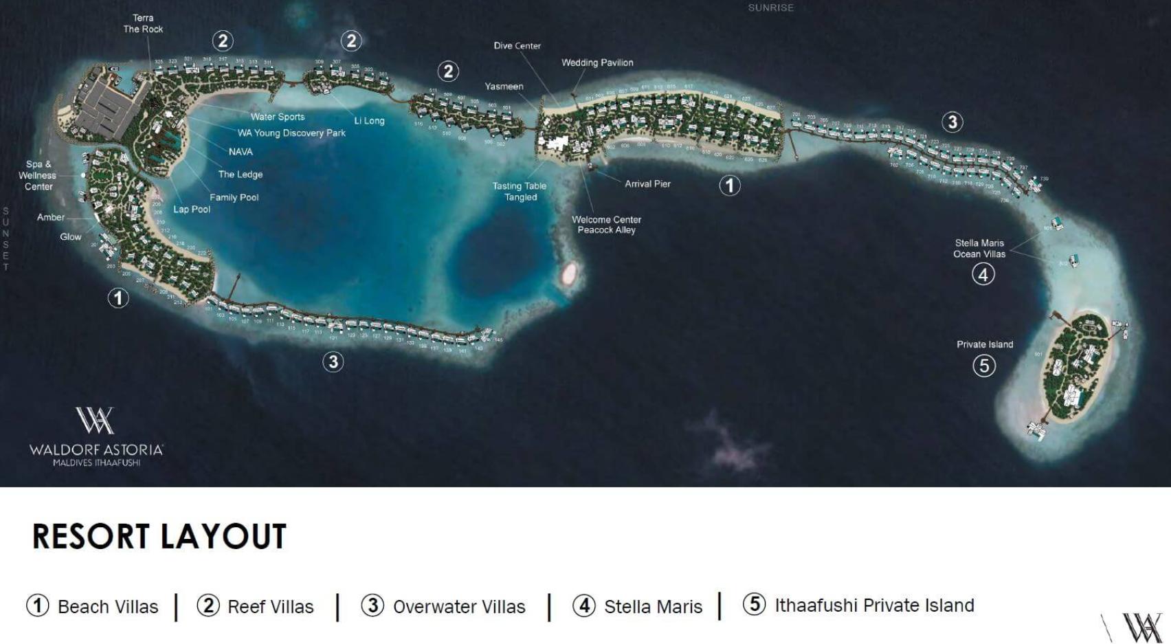 马尔代夫 华尔道夫.伊塔富士岛|希尔顿 Waldorf Astoria Maldives Ithaafushi 平面地图查看