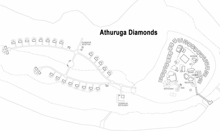 马尔代夫 钻石阿莎格岛 Diamonds Athuruga 平面地图查看