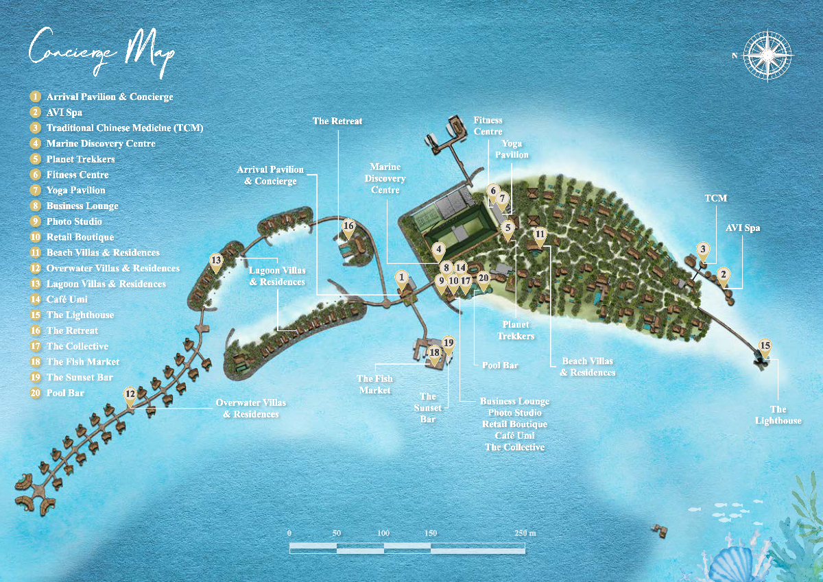 马尔代夫 洲际酒店(ihg) InterContinental Maldives Maamunagau Resort 平面地图查看