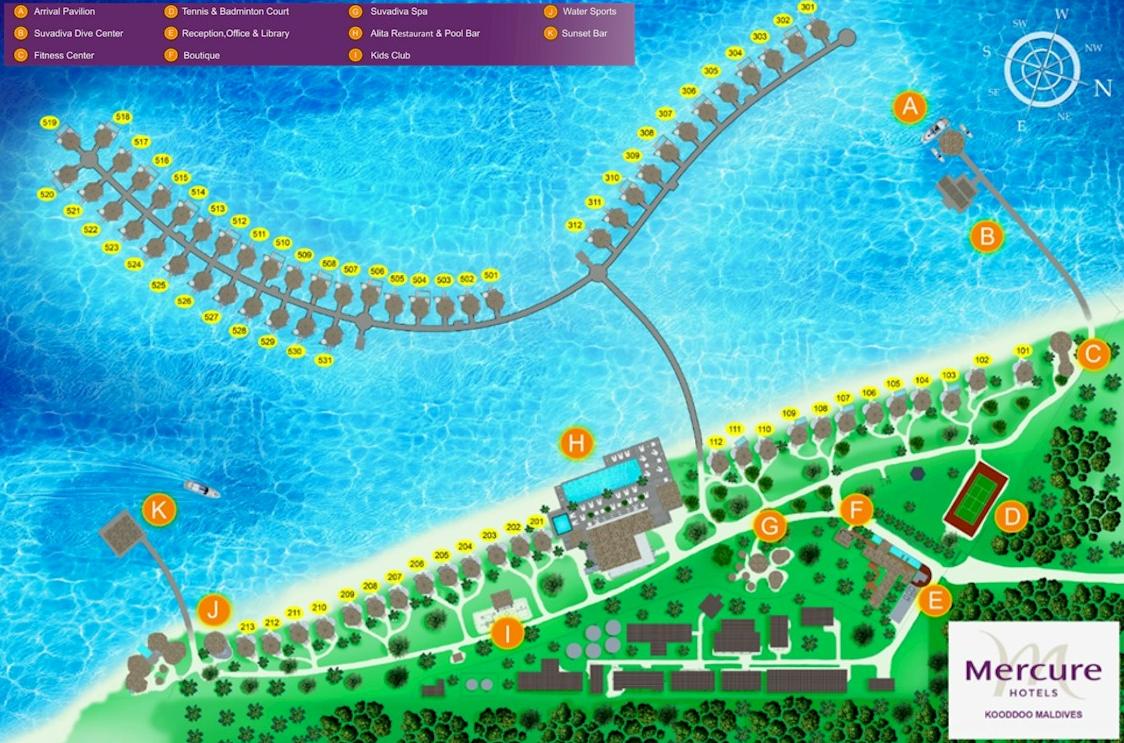 马尔代夫 美居度假村 Mercure Maldives Kooddoo 平面地图查看
