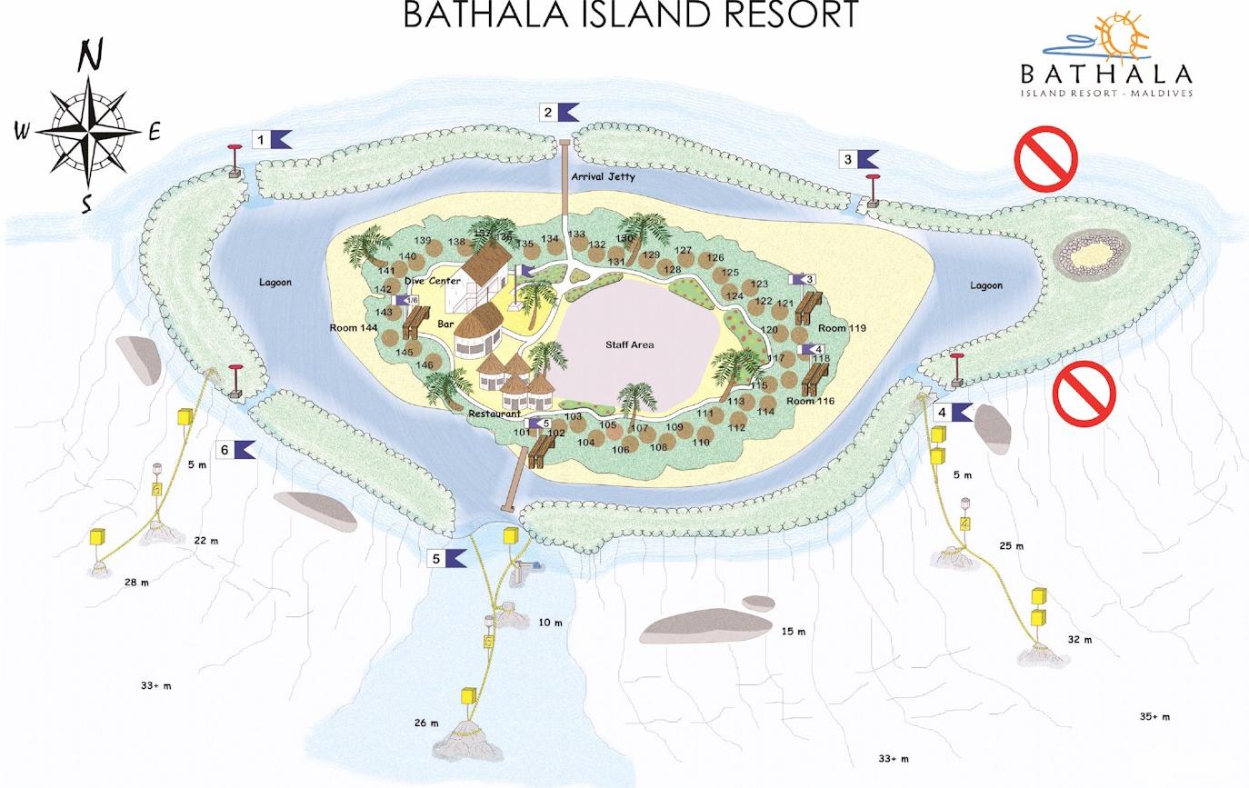 马尔代夫 巴塔拉岛|桑迪斯 Sandies Bathala Maldives 平面地图查看