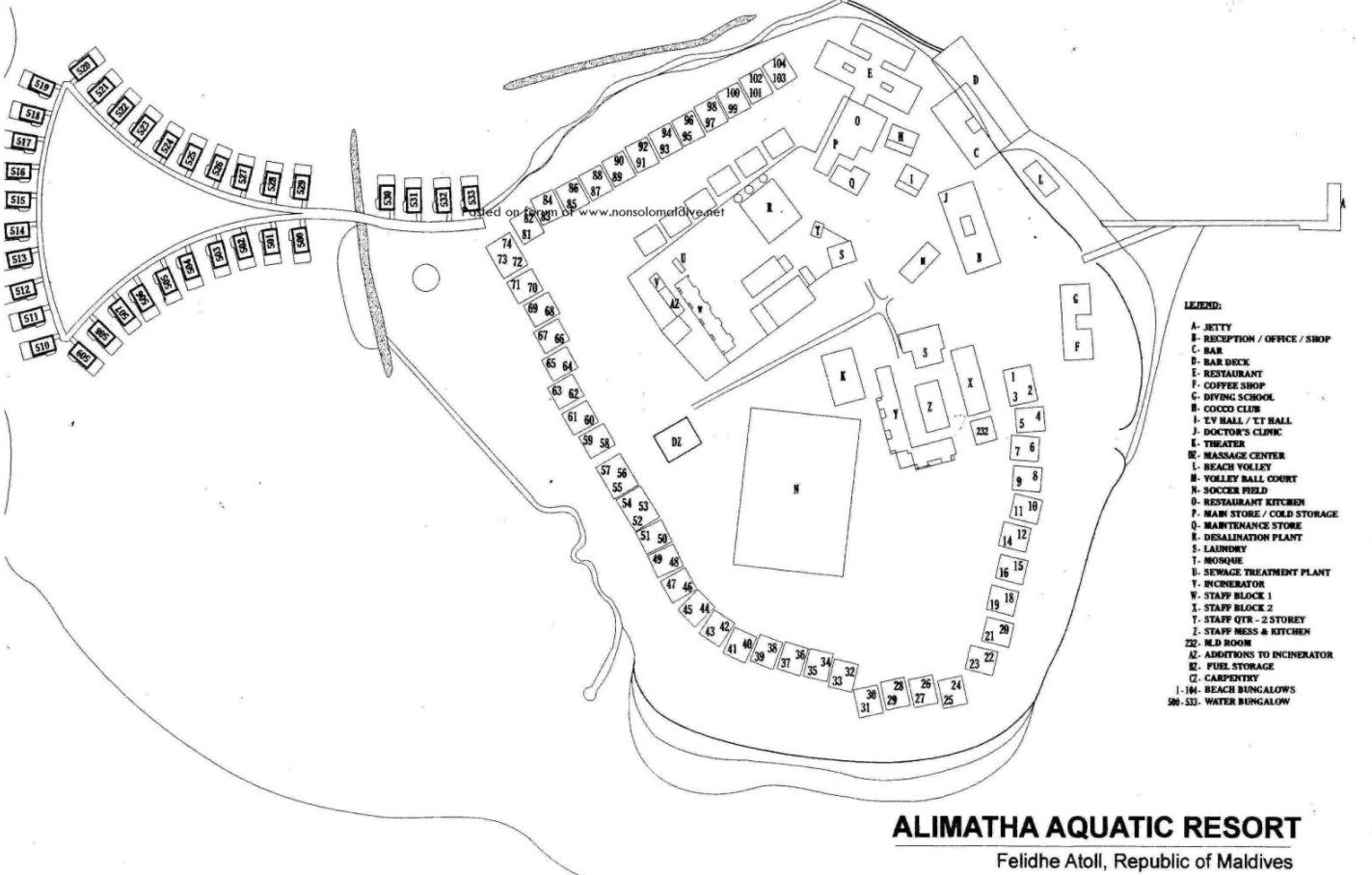马尔代夫 安利玛莎 Alimatha Aquatic Resort  平面地图查看