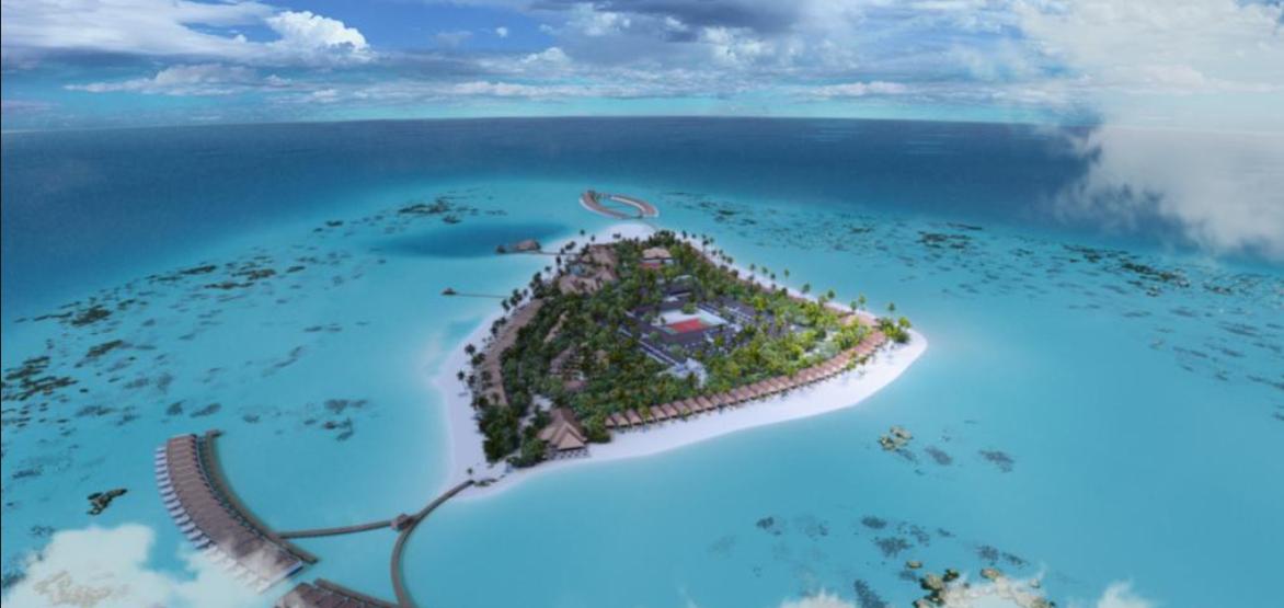 布伦尼亚岛 Brennia Kottefaru Resort  Spa Maldives 鸟瞰地图birdview map清晰版 马尔代夫