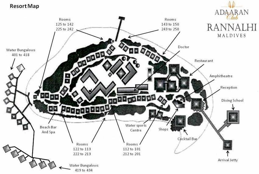 马尔代夫 绚丽岛_伦娜里岛 Adaaran Rannalhi Club 平面地图查看