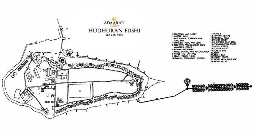 马尔代夫 白金岛|大劳力士岛 Adaraan Hudhuranfushi 平面地图查看