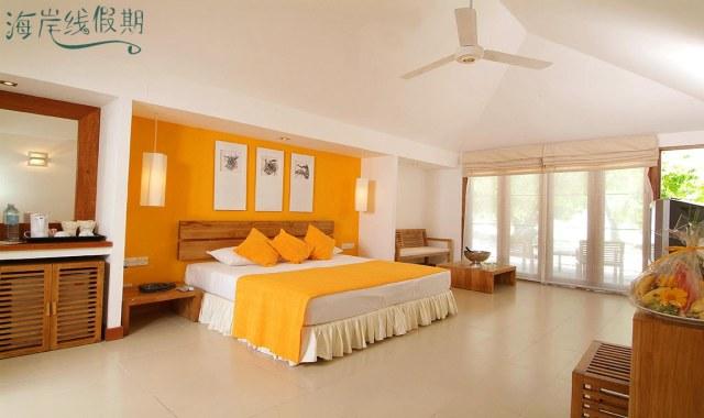 房型内部设施图片参考,如无边泳池与电视及音响, 海滩别墅-Beach Villa maldievs(白金岛|大劳力士岛 Adaraan Hudhuranfushi)