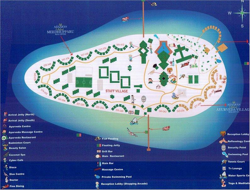 马尔代夫 蜜都帕如岛|密度帕如 Meedhupparu 平面地图查看