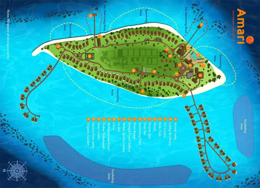 马尔代夫 阿玛瑞豪沃达 Amari Havodda Maldives 平面地图查看