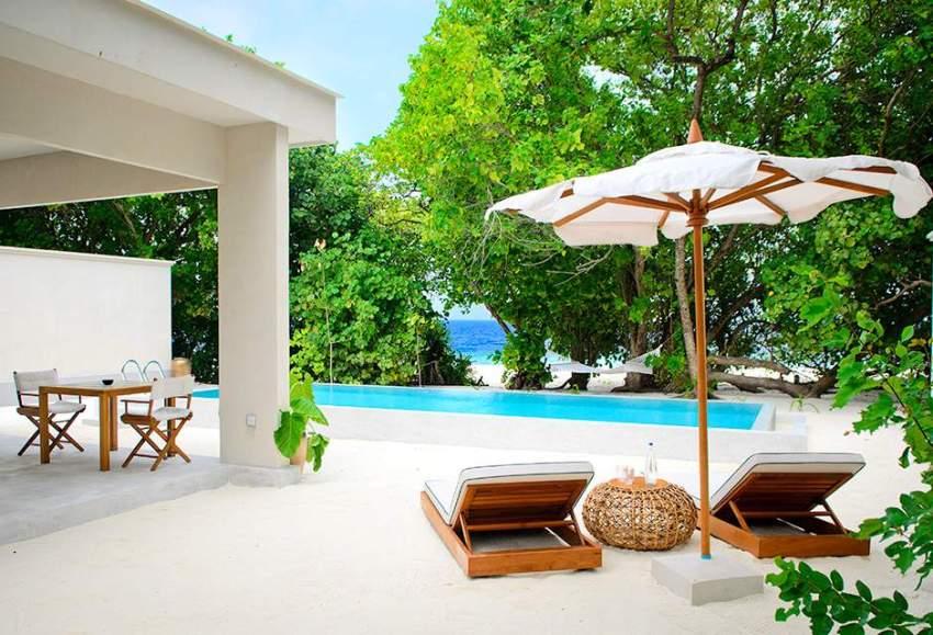 房型内部设施图片参考,如无边泳池与电视及音响, 单卧室沙滩屋-Beach House 1 Bedroom maldievs(阿米拉 Amilla Fushi)