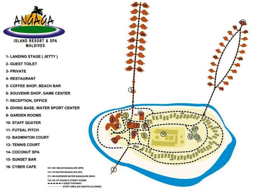 马尔代夫 安嘎嘎岛 Angaga Island 平面地图查看