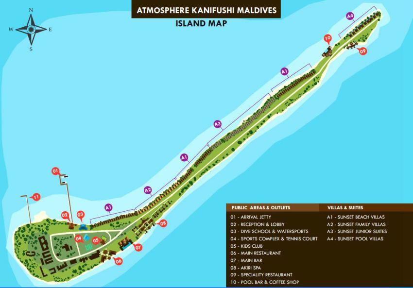 马尔代夫 卡尼富士岛 Atmosphere Kanifushi Maldives 平面地图查看